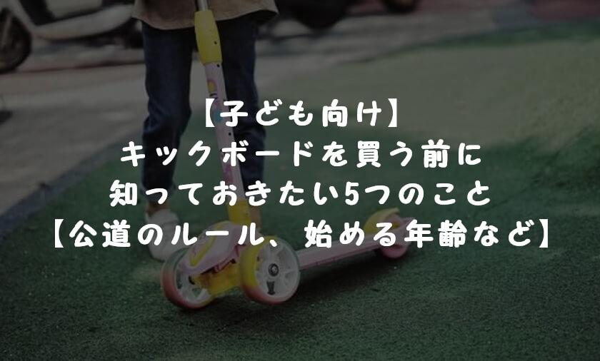 【子ども向け】キックボードを買う前に知っておきたい5つのこと【公道のルール、始める年齢など】